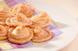 Homemade puff pastry cookies with sugar