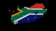 South Africa map flag with population animation