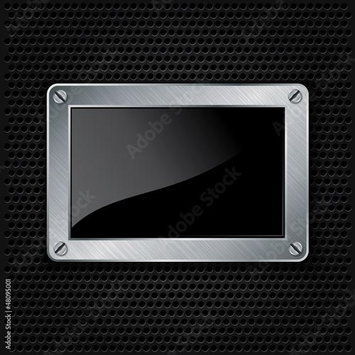 Metallic frame with screws on abstract metallic background