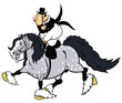 cartoon rider on heavy horse