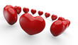 Rote 3D Herzen im Kreis 1