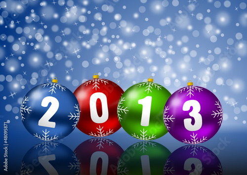 2013 new years vector illustration with christmas balls