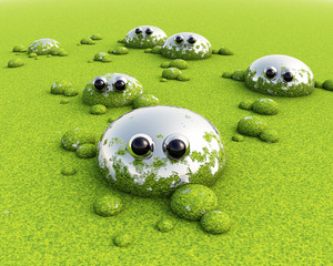 3D Green funny swamp