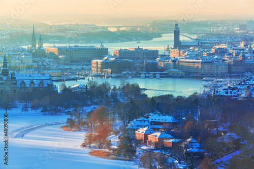 Winter aerial scenery of Stockholm, Sweden