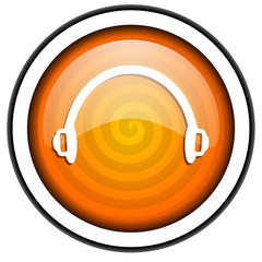 headphones orange glossy icon isolated on white background