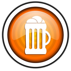 beer orange glossy icon isolated on white background
