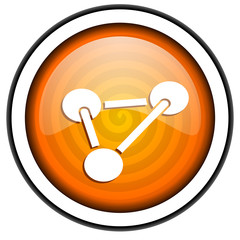 chemistry orange glossy icon isolated on white background