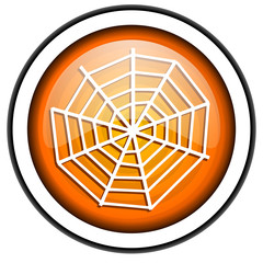 spider orange glossy icon isolated on white background