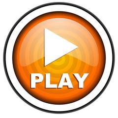 play orange glossy icon isolated on white background