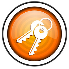 keys orange glossy icon isolated on white background