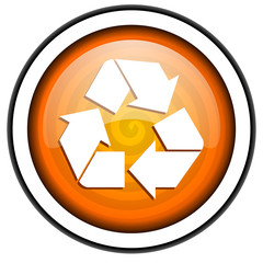 recycle orange glossy icon isolated on white background