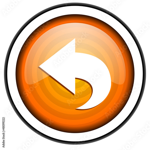 back orange glossy icon isolated on white background