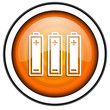 batteries orange glossy icon isolated on white background