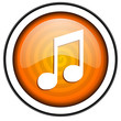 music orange glossy icon isolated on white background