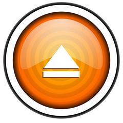 eject orange glossy icon isolated on white background