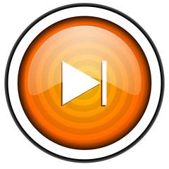 next orange glossy icon isolated on white background