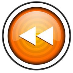 scroll orange glossy icon isolated on white background