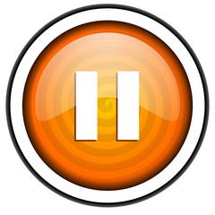 pause orange glossy icon isolated on white background