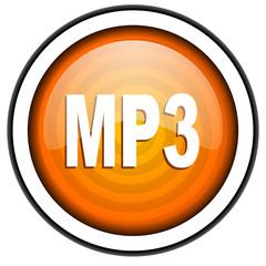 mp3 orange glossy icon isolated on white background