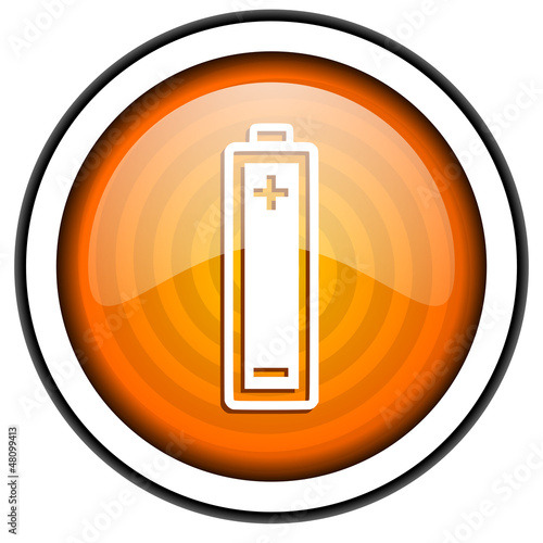 battery orange glossy icon isolated on white background