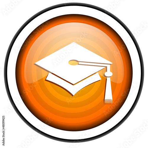 graduation orange glossy icon isolated on white background
