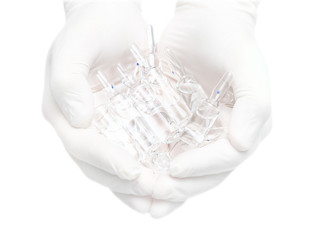 medication in hands. Isolated medical photo