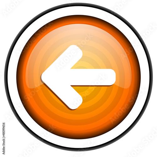 arrow left orange glossy icon isolated on white background