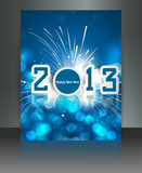 2013 new year celebration blue colorful brochure card vector