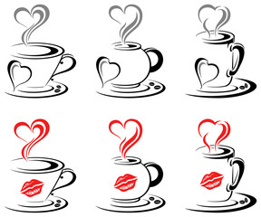 Hot Coffee Mugs Heart
