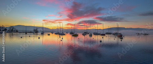 Sunrise and Sailboats