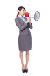 Business woman with megaphone yelling