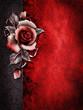 Gotyckie tło z czerwoną różą