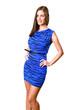 Pretty model in blue dress