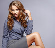 Businesswoman  on grey background