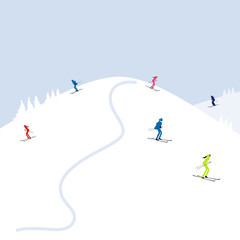 People skiing, winter mountain landscape for your design