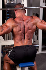 Bodybuilder training his back