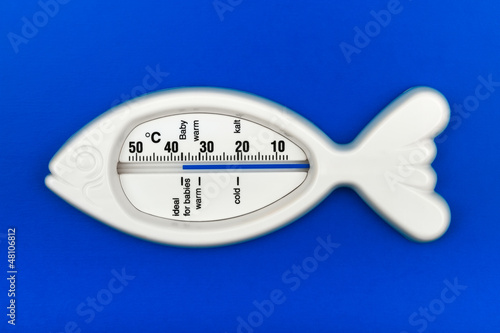 fish bath thermometer on blue background