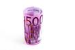 500 Euro Banknote aufgerollt