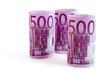 500 Euro Banknoten aufgerollt