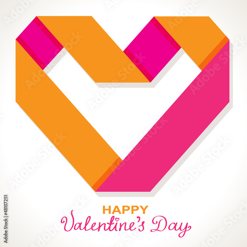 Background with color origami paper heart