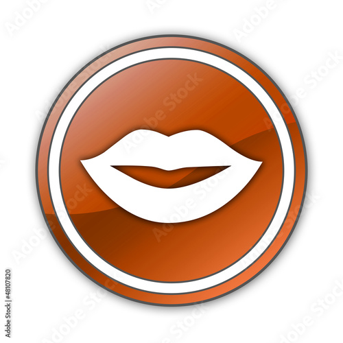 "Orange Glossy Button ""Mouth / Lips Symbol"""
