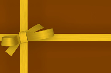 gold gift ribbon bow on brown background