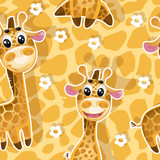 Seamless background with babies giraffes