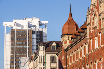Mix of architectural styles in Katowice downtown, Silesia region