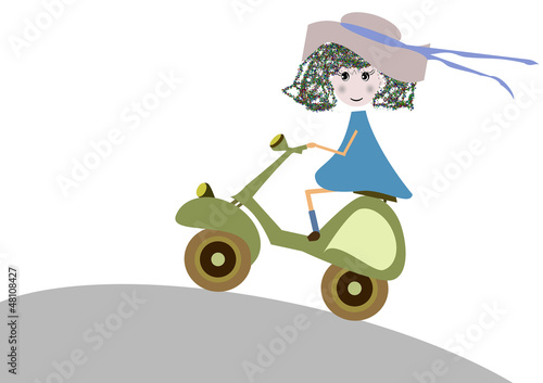 bambina in moto