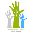 Users hands, social media generation concept