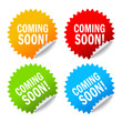Coming soon vector labels set