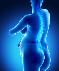 Pregnant woman with visible backbone
