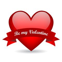 Be my valentine glass heart