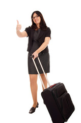 Business woman with suitcase and thumbs up